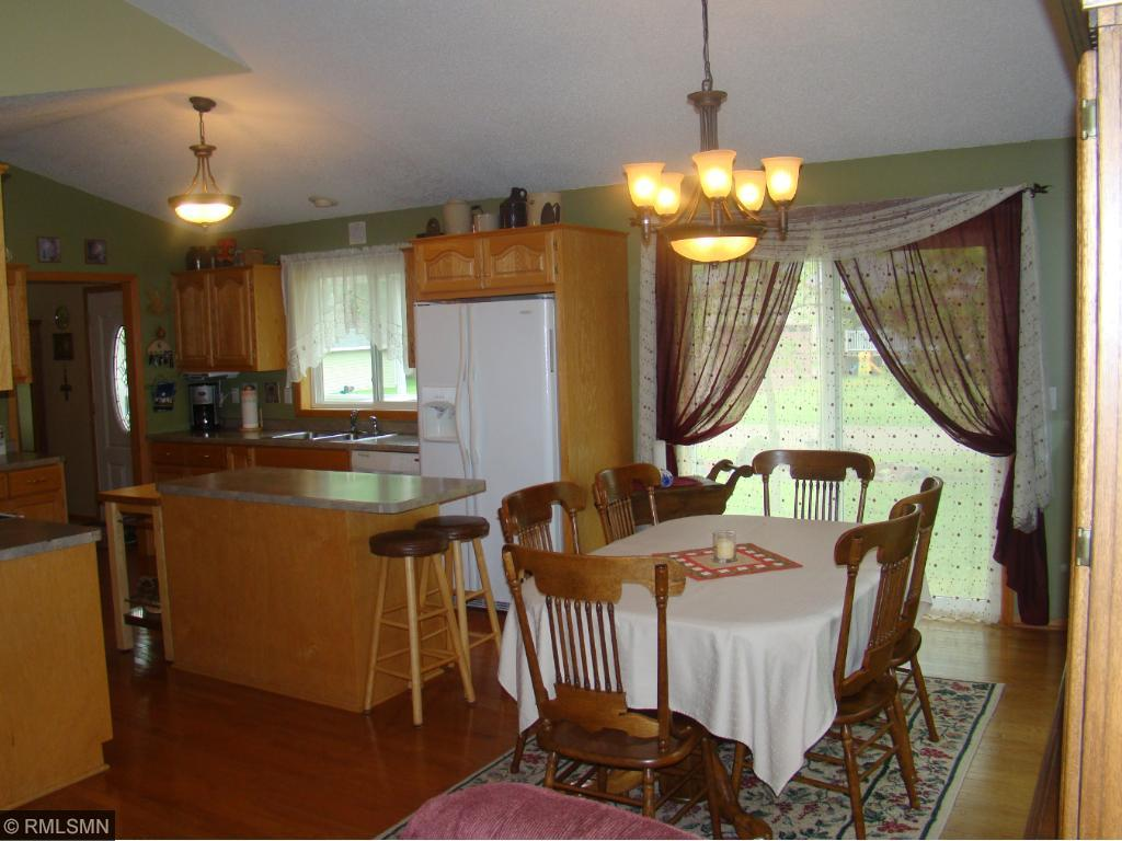 dining/kitchen from living area