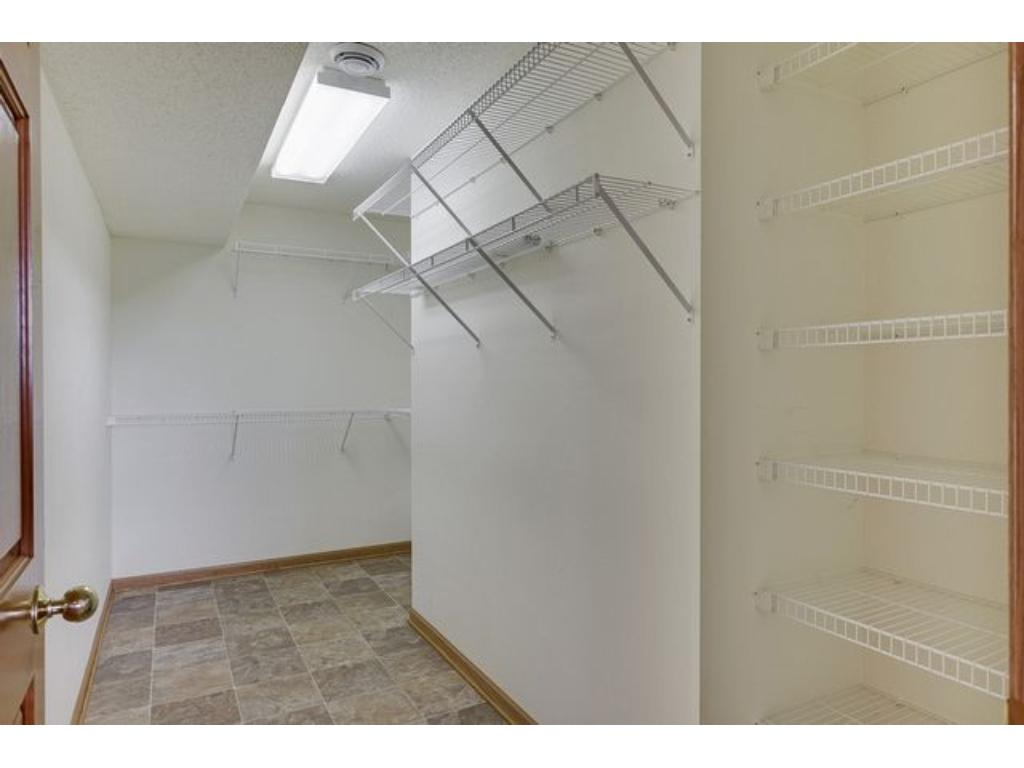 You will have all of the storage space you need with this large walk in closet off the lower level bedroom.