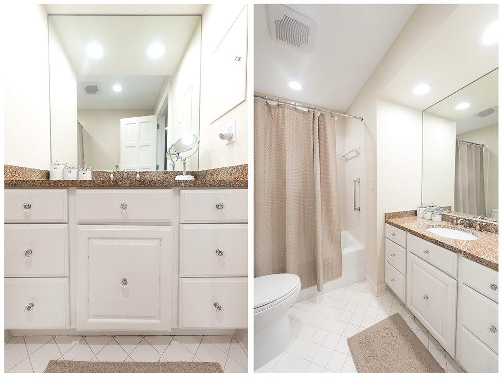 Beautiful guest full bath with white accents, stone and size!