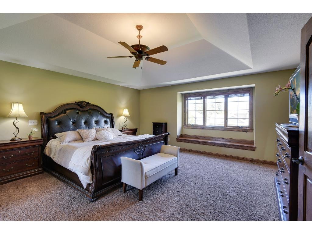 Spacious owner's suite with large walk-in closet, custom closet organizer system, and private bath.