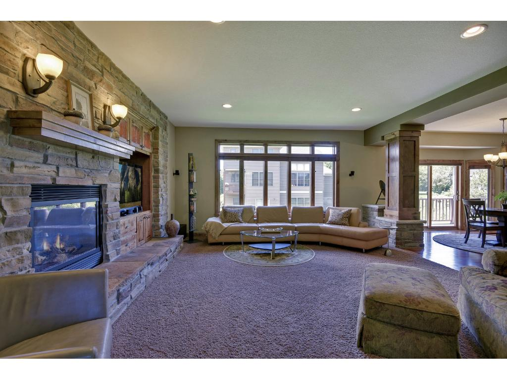 Gas fireplace in the living room, enhance the experience with the BOSE surround sound system.