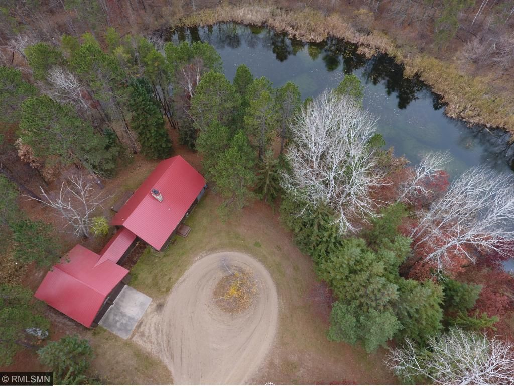 Aerial of home w pond