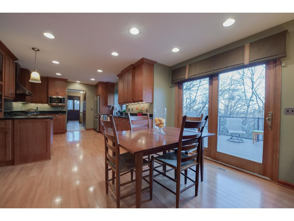 The kitchen flows through to the informal dining and family room.