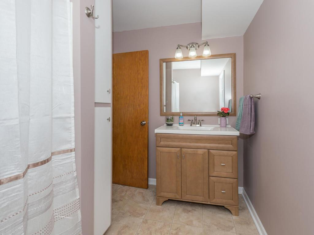 Newer bath with large tub..and vanity.