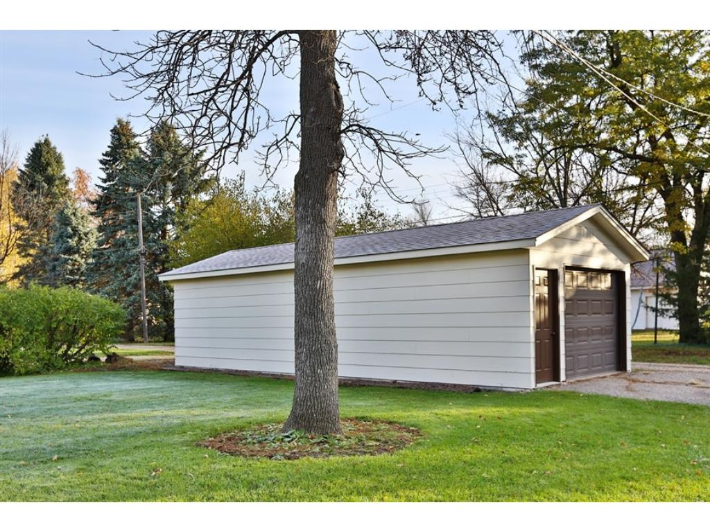 36' x 14' detached garage is freshly painted and alley access.
