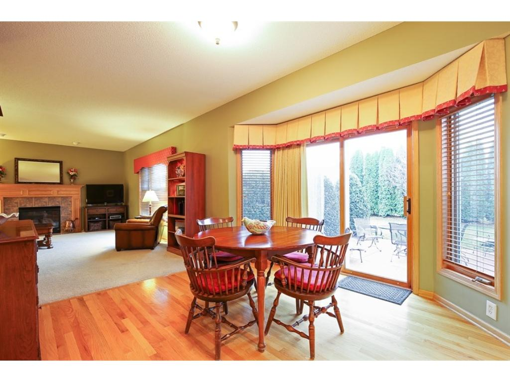 Big kitchen with center island, real oak hdwd floors.