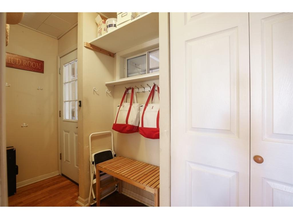 Convenient mud room off the garage for all the family gear.