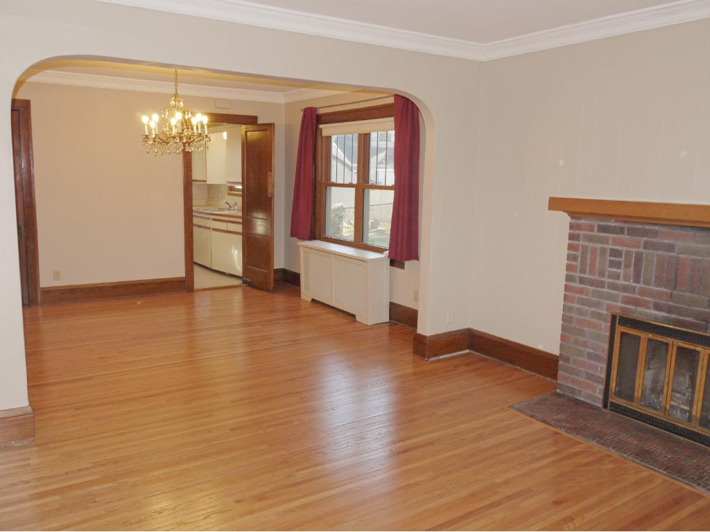 Long view of living room and dining room.