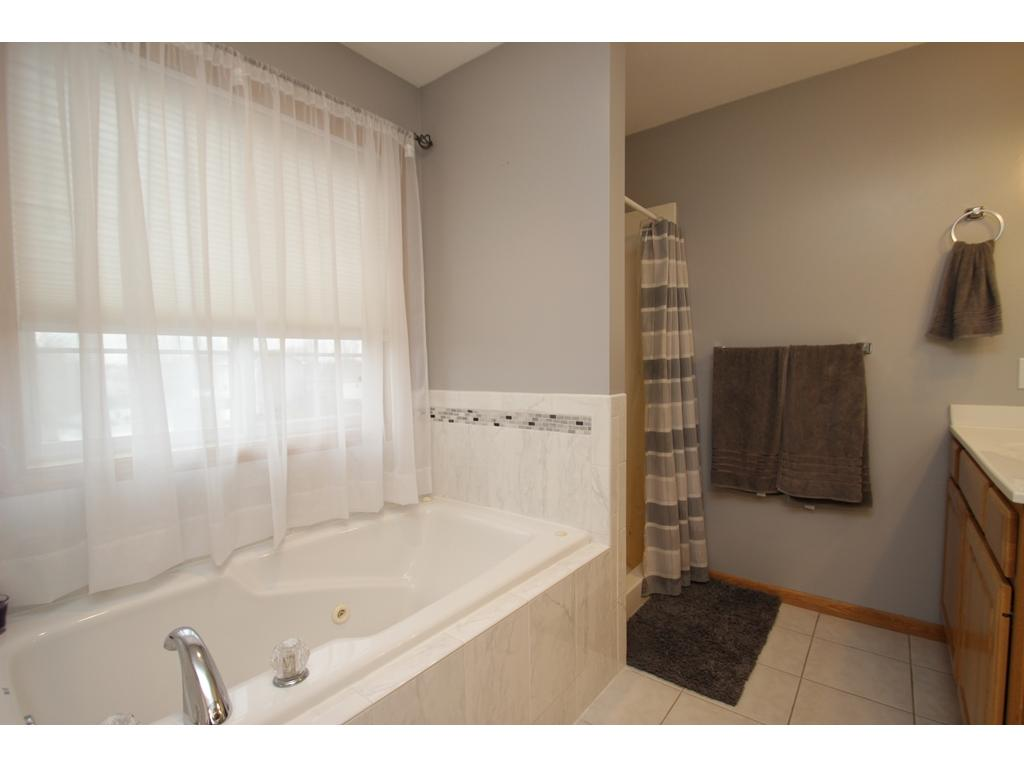 Spacious master bathroom w/ a large jacuzzi tub and separate walk-in shower! Dual sinks as well!