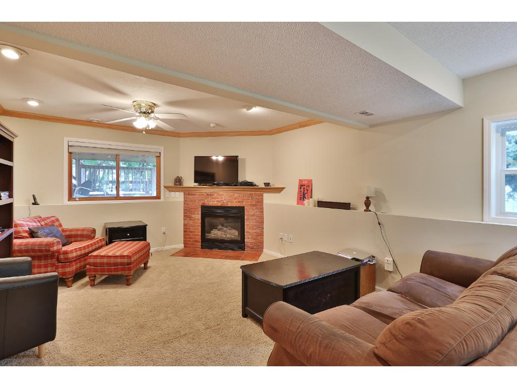 A view of the lower level family room which is highlighted by a gas burning fireplace.