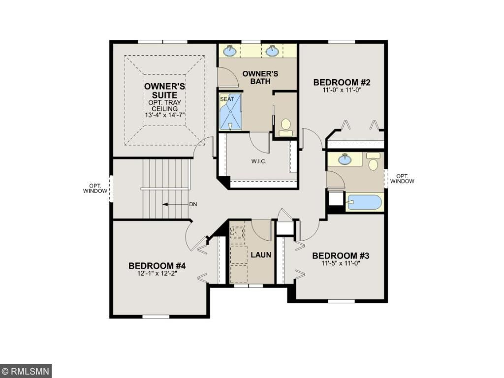 Second level floor plan with four spacious bedrooms.