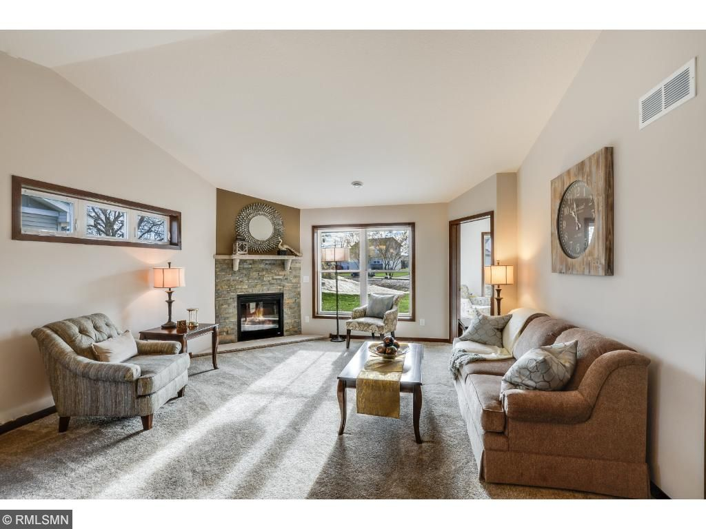 Enjoy the ambiance and warmth of this Ledgestone gas fireplace.