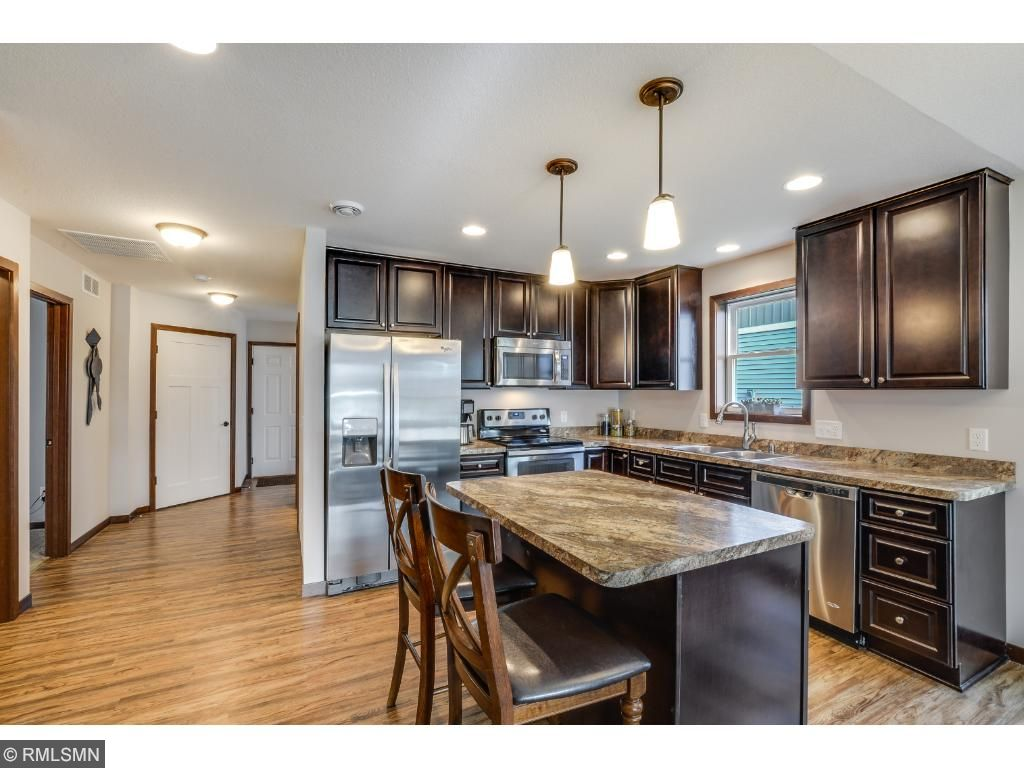Your new kitchen boasts beautiful solid maple cabinetry with soft close/dove tailed drawers, roll out drawers, recycle bin and additional built in pantry.   The appliances are Whirlpool in stainless steel.
