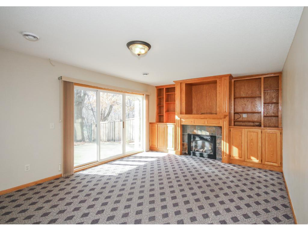 Relaxing lower level family room with second gas log fireplace, built-in cabinetry and walk-out patio.