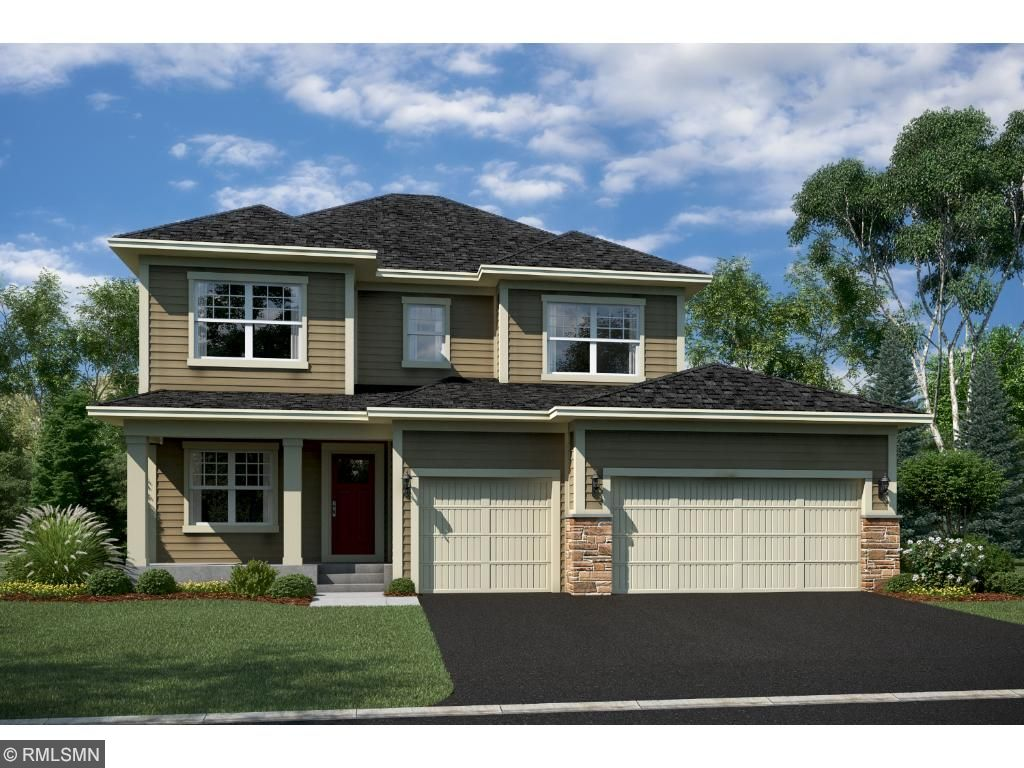 Rendering of Taylor B exterior. Home includes James Hardie siding on front elevation with stone accents.
