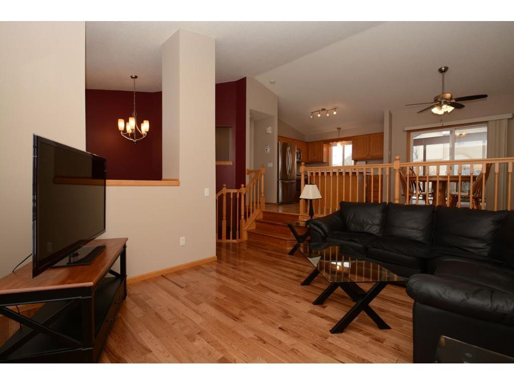 Living room, brand new hardwood flooring.