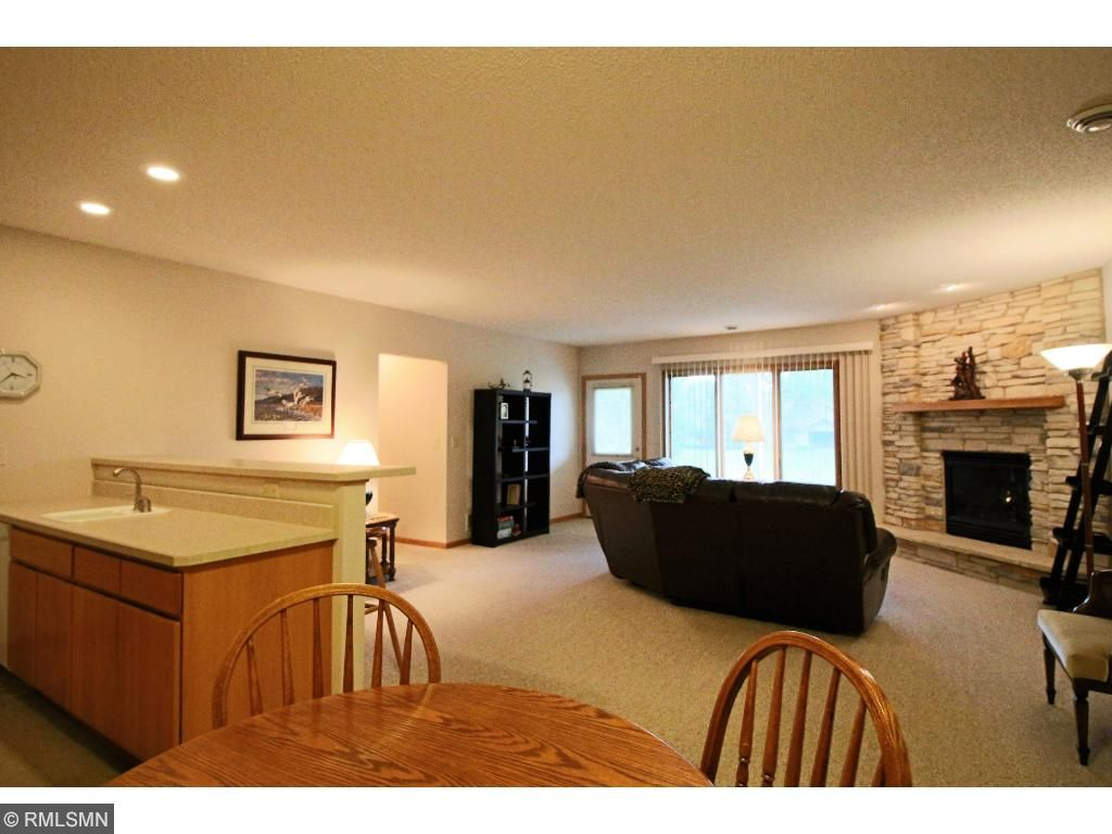 Open Family Room with wet bar kitchen
