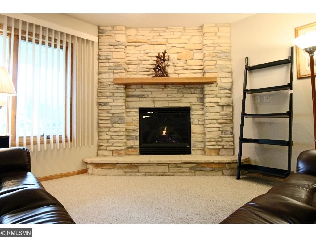 Gas Fireplace with stone surround
