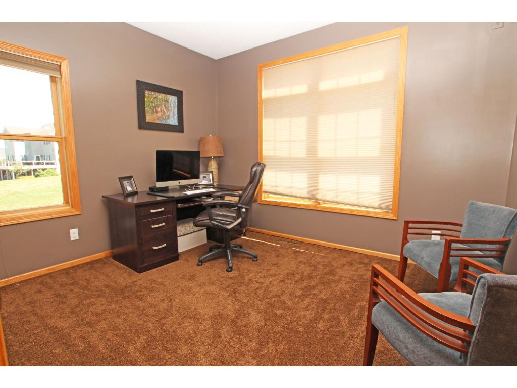 The second bedroom is currently set up for use as an office.
