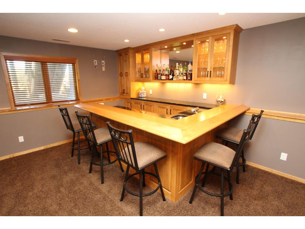 This custom built wet bar is perfect for having friends and family over.