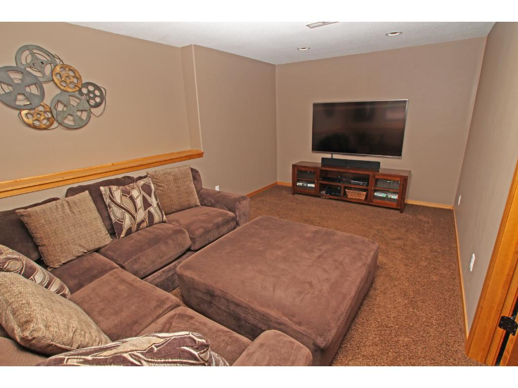This movie/TV room is nicely located off of the family room and wet bar area and has a nice set of glass french doors.