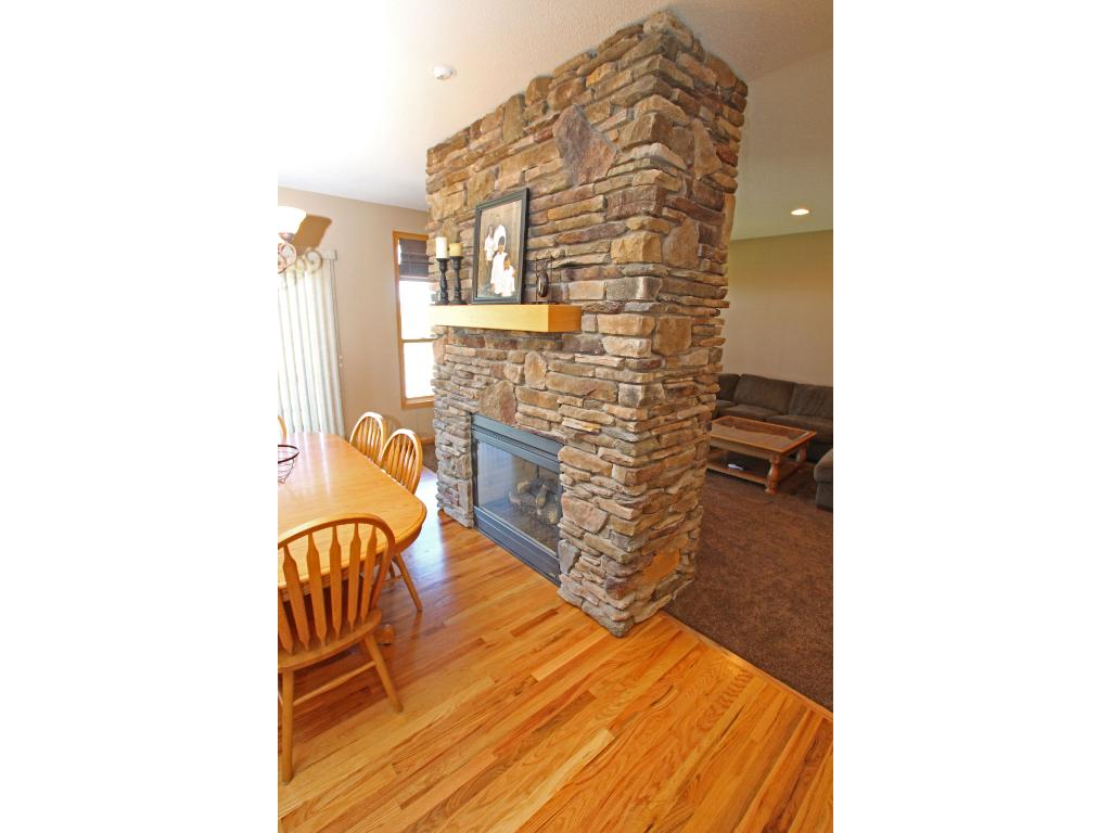 A closer view of the attractive stone fireplace.