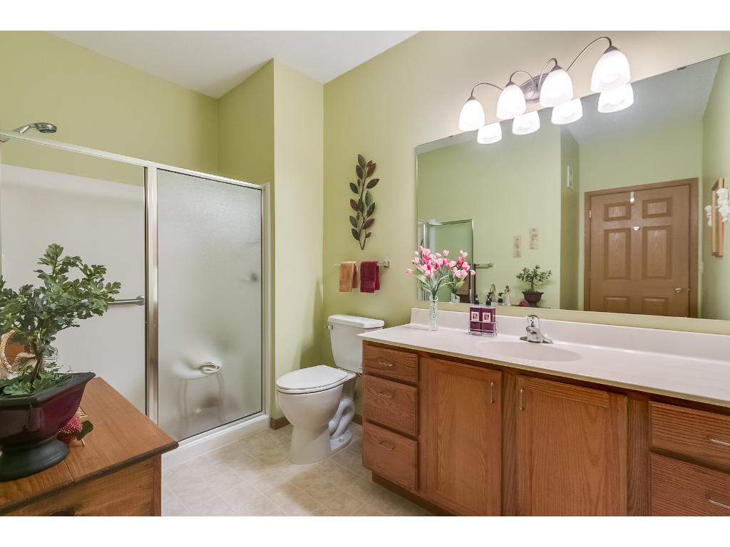 The master bathroom has a 5 foot walk-in shower with grab bars. Great place to get ready in with a large well lit mirror and large linen cabinet.