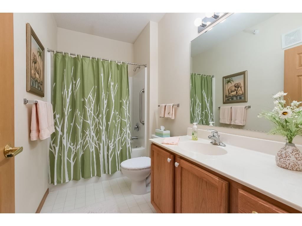 The second bathroom has a full size tub with shower head.  Great option for friends and family to use.