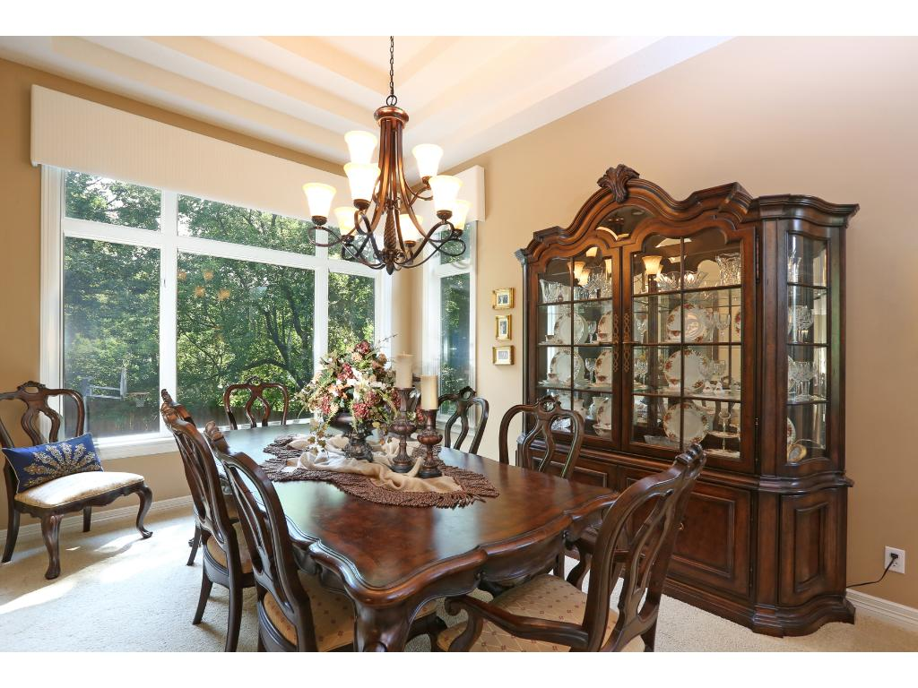 Large formal dining room with views to backyard
