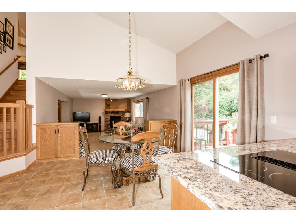 Floor plan with open views from kitchen to family room.