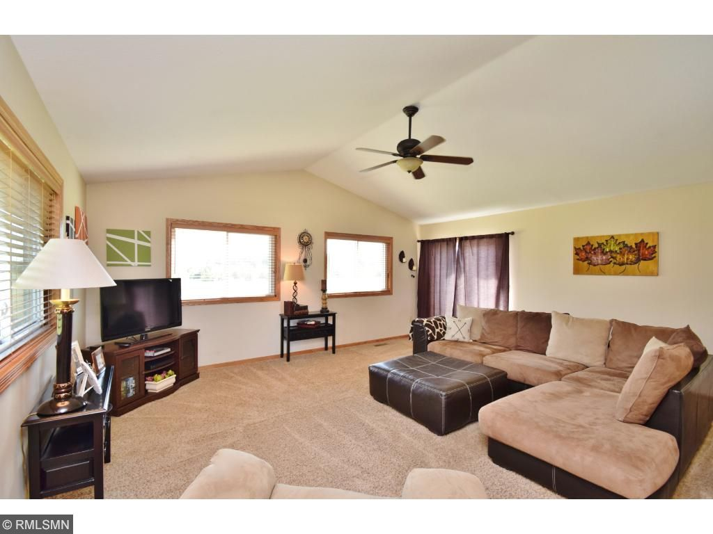 Upper level living room with vaulted ceilings!