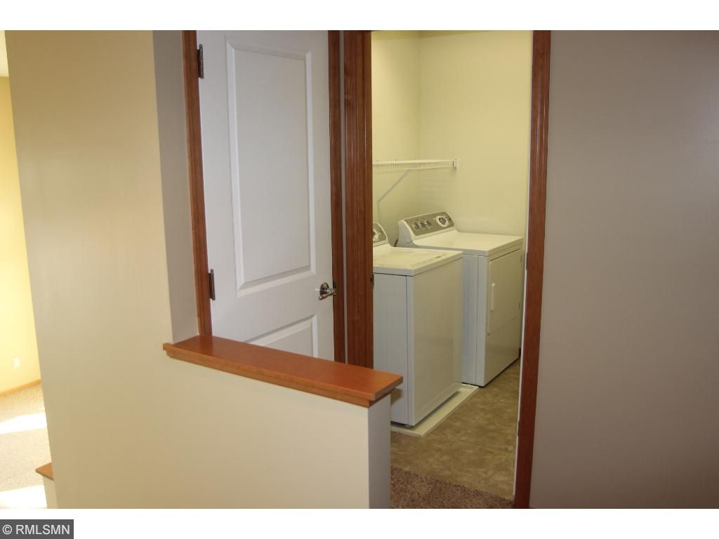 Laundry is on the upper level right next to the bedrooms. Very convenient!