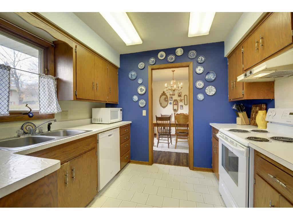 Kitchen with tile floor.