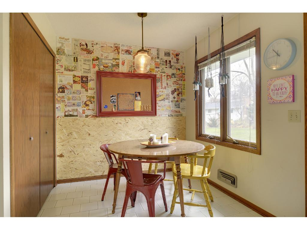 Informal dining area with very large pantry/storage.