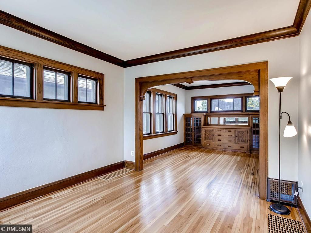 Dining room features a built-in buffet...