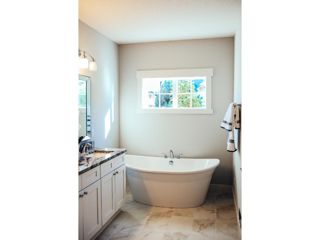 Luxurious master suite features double vanities, oversize walk-in shower and soaking tub.
