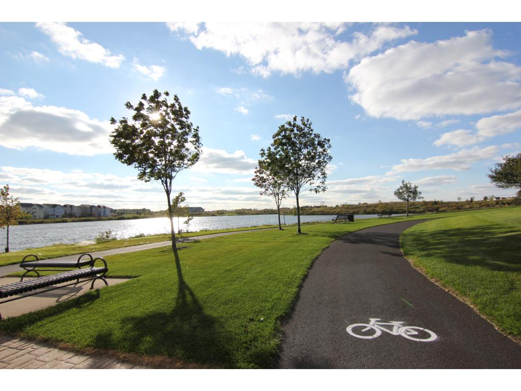 Biking and walking paths around the lake just outside your font door!