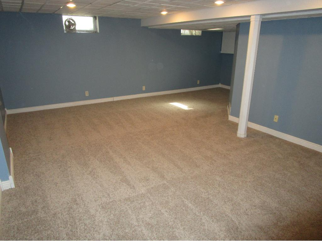 Lower level family room with new carpet.