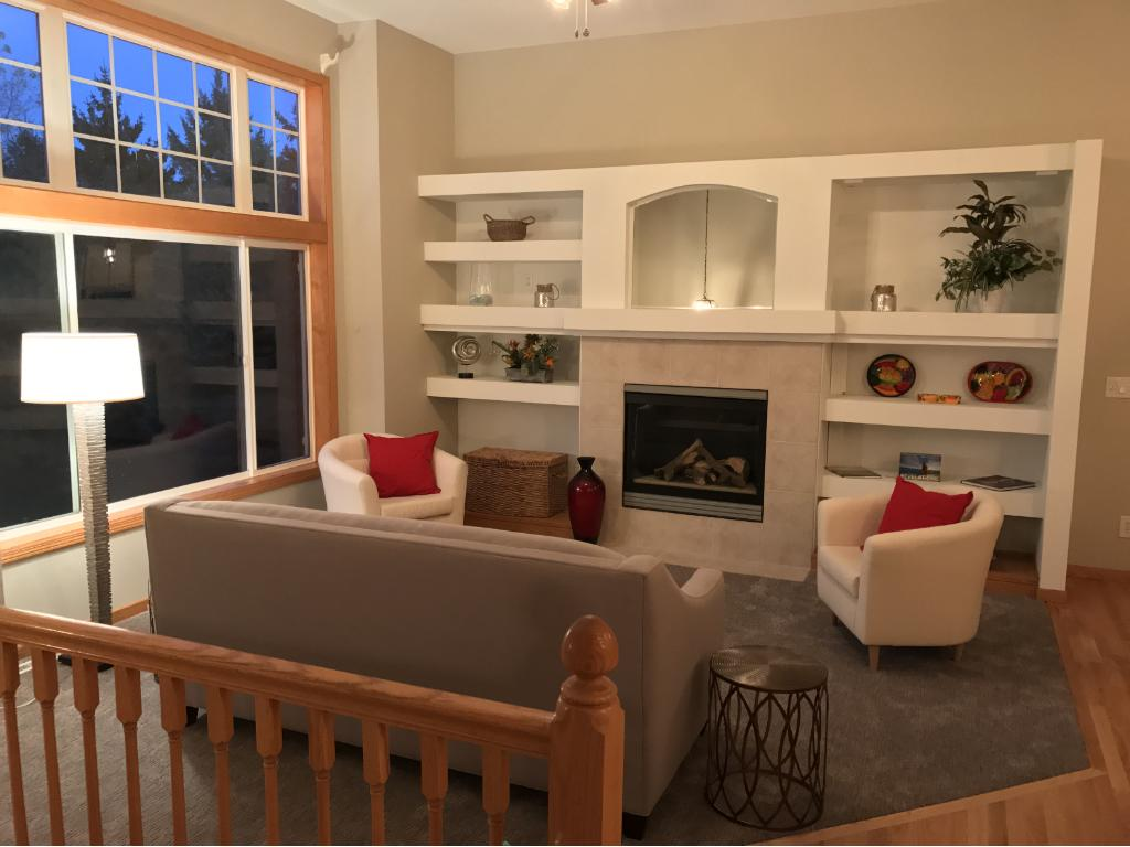 Gas fireplace, built ins, new paint. Move right in...