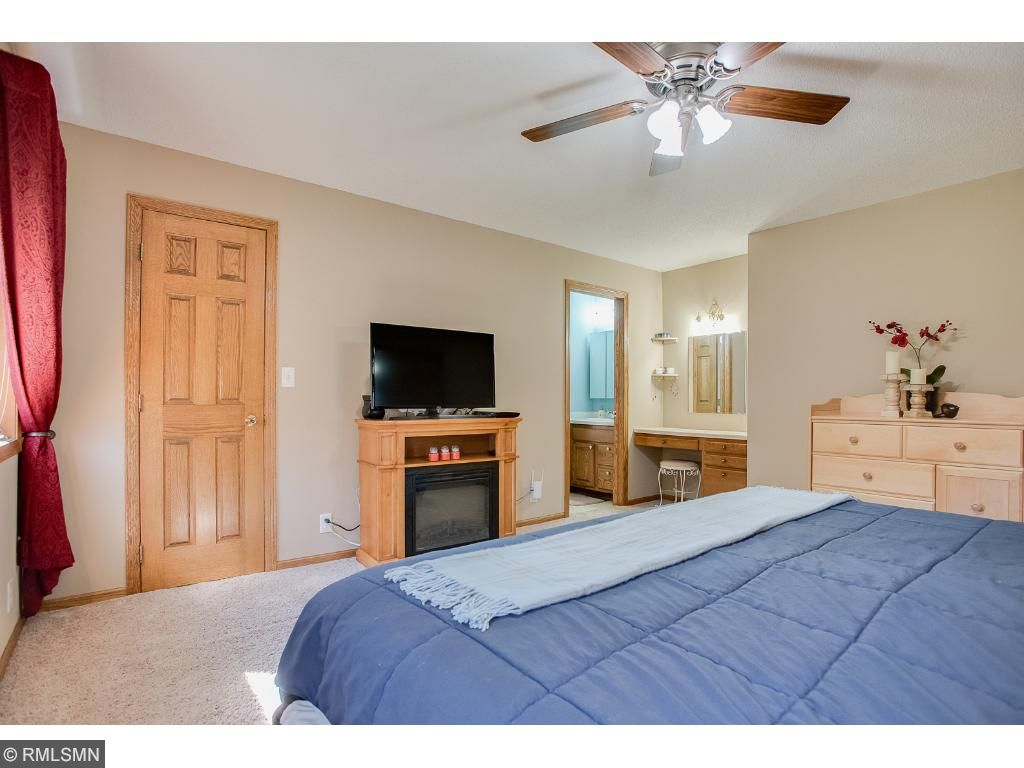 Master bedroom has walk in closet, vanity area and private master bathroom