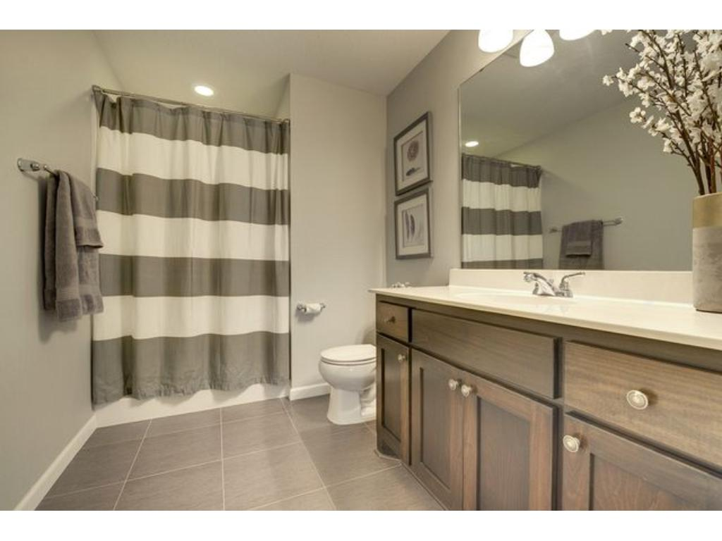 The lower level 3/4 bath is perfect for when guests come to visit.