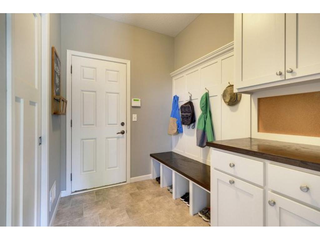 The mudroom has ample storage space, and can be concealed from the rest of the home with a sliding door.