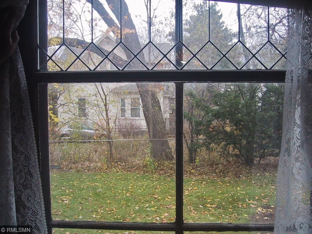 Leaded glass looking into large side yard