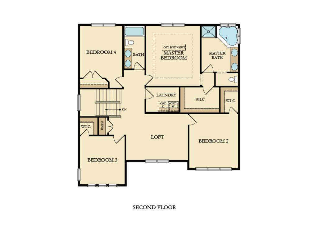 Upper level layout; home may vary from this layout subject to options selected.