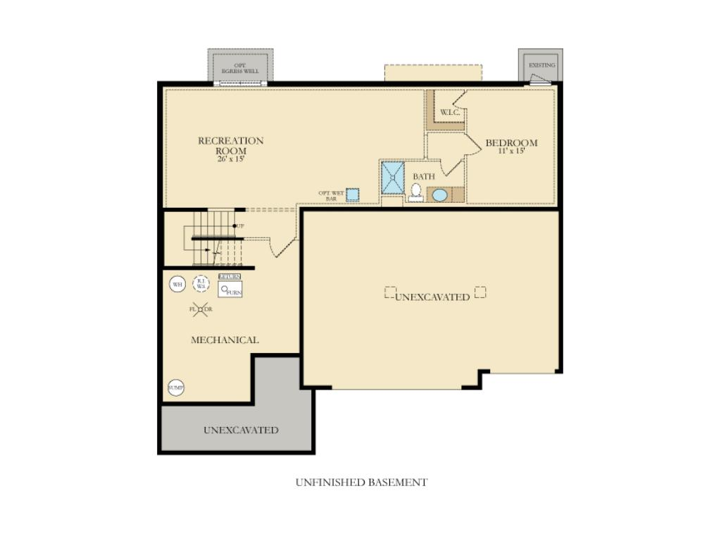 Lower level layout; home may vary from this layout subject to options selected.