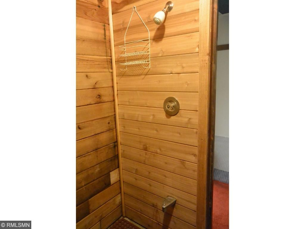 Sauna has shower