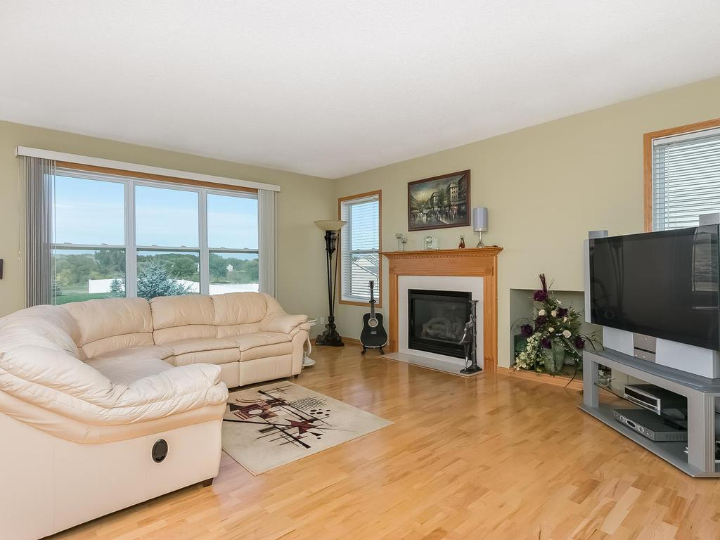 Main floor family room with gas fireplace.