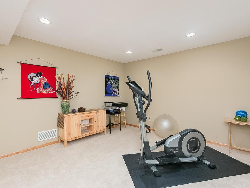 Lower level exercise / game room .