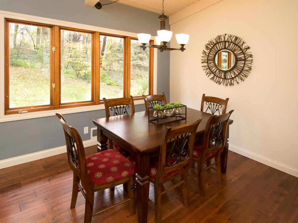 Dining space allows room for six or more.