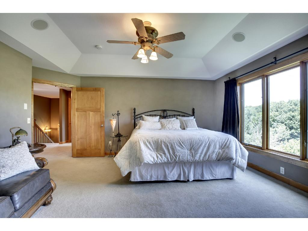 Spacious Master with gorgeous nature views out the big picture window.